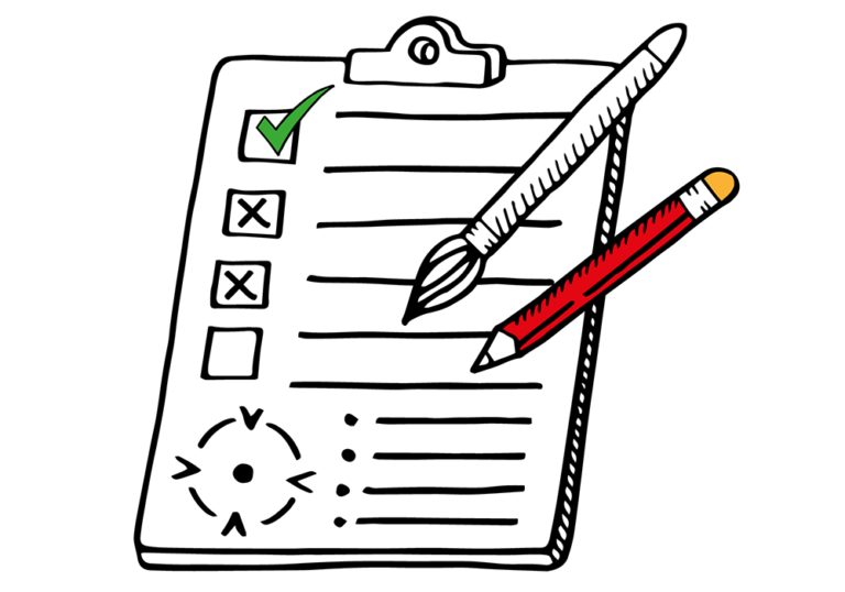digital marketing – an illustration of a to-do list, an art brush and a pencil, depicting art direction services.