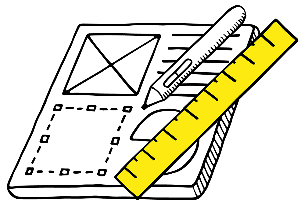 digital marketing – an illustration of a tablet with a drawing pen and ruler depicting graphic design.