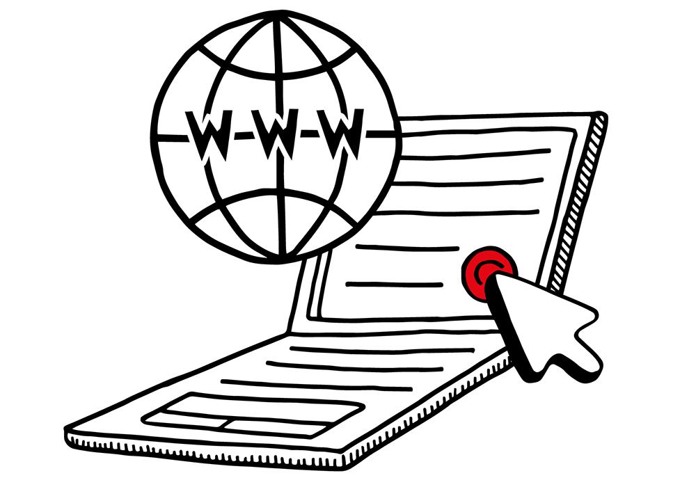 digital marketing – an illustration of a laptop, a world-wide web globe and a cursor to depict web development services.