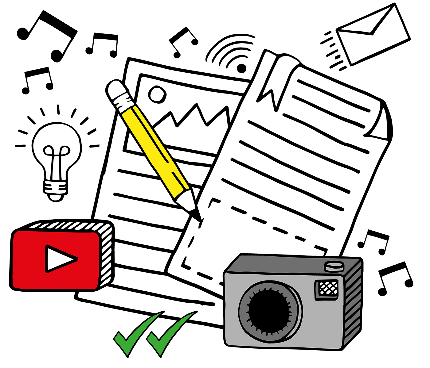 illustration depicting the mechanisms and tools for successful online content.