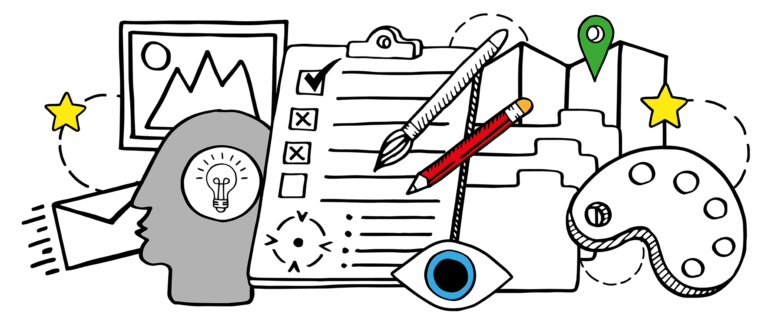 art direction – an illustration showing various elements of art direction for producing original brand-related images.